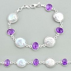 925 sterling silver 30.44cts tennis natural white pearl amethyst bracelet t37263