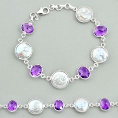 925 sterling silver 28.08cts tennis natural white pearl amethyst bracelet t37303