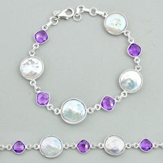 925 sterling silver 25.28cts tennis natural white pearl amethyst bracelet t37308