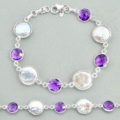 925 sterling silver 27.64cts tennis natural white pearl amethyst bracelet t37314
