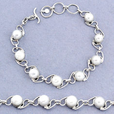 925 sterling silver 19.65cts tennis natural white pearl bracelet jewelry t8436