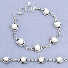 925 sterling silver 17.38cts tennis natural white pearl bracelet jewelry t8453