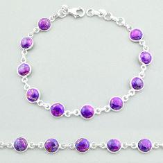 925 sterling silver 17.34cts tennis purple copper turquoise bracelet t40286