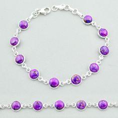 925 sterling silver 17.91cts tennis purple copper turquoise bracelet t40291