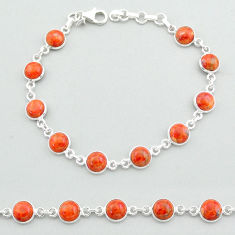 925 sterling silver 18.43cts tennis red copper turquoise bracelet jewelry t40300
