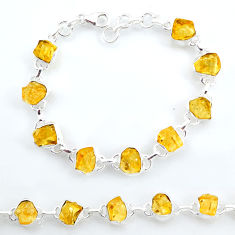 925 sterling silver 33.07cts tennis yellow citrine raw bracelet jewelry t6644