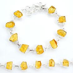 925 sterling silver 35.27cts tennis yellow citrine raw fancy bracelet t6647