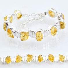 925 sterling silver 41.56cts tennis yellow citrine raw fancy bracelet t6664