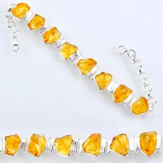 925 sterling silver 47.74cts yellow citrine rough tennis bracelet jewelry r61740