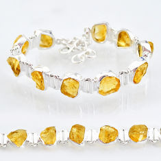925 sterling silver 38.31cts yellow citrine raw tennis bracelet jewelry t6734