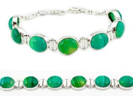 Natural green botswana agate 925 sterling silver tennis bracelet jewelry j16961