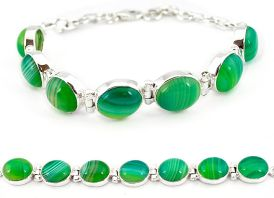 Natural green botswana agate 925 sterling silver tennis bracelet jewelry j16963