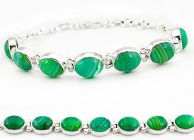 925 sterling silver natural green botswana agate tennis bracelet jewelry j16964