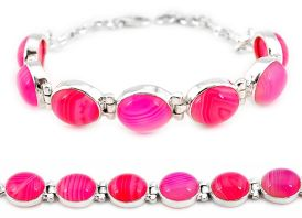 925 sterling silver natural pink botswana agate tennis bracelet jewelry j16969