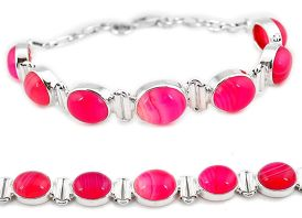 Natural pink botswana agate 925 sterling silver tennis bracelet jewelry j16970