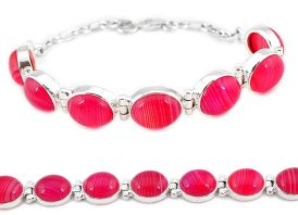 Natural pink botswana agate 925 sterling silver tennis bracelet jewelry j16971