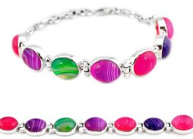 Natural pink red green botswana agate 925 sterling silver tennis bracelet j16974