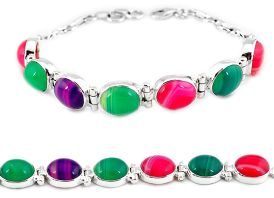 Natural pink red green botswana agate 925 sterling silver tennis bracelet j16975