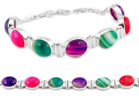 925 sterling silver natural pink red green botswana agate tennis bracelet j16976