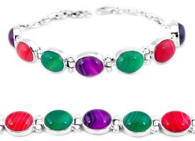Natural pink red green botswana agate 925 sterling silver tennis bracelet j16978