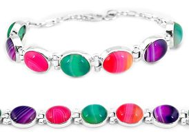 Natural red green pink botswana agate 925 sterling silver tennis bracelet j16980