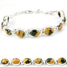 Multi color ocean sea jasper (madagascar) 925 silver tennis bracelet j18101