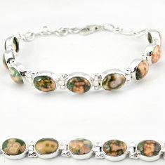 925 silver multi color ocean sea jasper (madagascar) tennis bracelet j18104