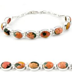 Multi color ocean sea jasper (madagascar) 925 silver tennis bracelet j18107