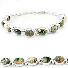 Multi color ocean sea jasper (madagascar) 925 silver tennis bracelet j18108