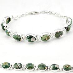 Multi color ocean sea jasper (madagascar) 925 silver tennis bracelet j18110