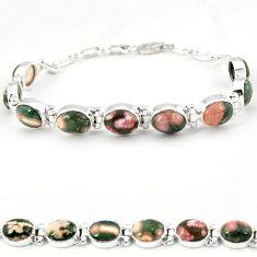 925 silver multi color ocean sea jasper (madagascar) tennis bracelet j18111