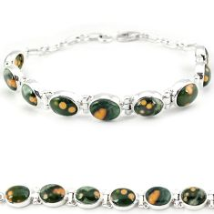 Multi color ocean sea jasper (madagascar) 925 silver tennis bracelet j18113