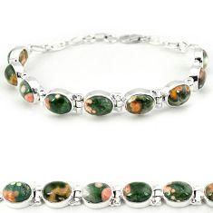 925 silver multi color ocean sea jasper (madagascar) tennis bracelet j18114