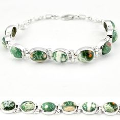 Multi color ocean sea jasper (madagascar) 925 silver tennis bracelet j18115