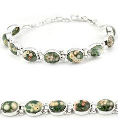 925 silver multi color ocean sea jasper (madagascar) tennis bracelet j18116