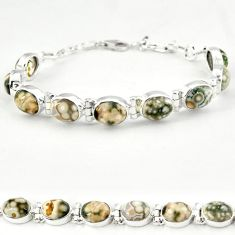 Ocean sea jasper (madagascar) oval 925 sterling silver tennis bracelet j18117