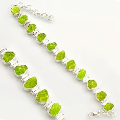 42.37cts natural green peridot rough 925 sterling silver tennis bracelet r17002