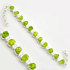 41.87cts natural green peridot rough 925 sterling silver tennis bracelet r17003