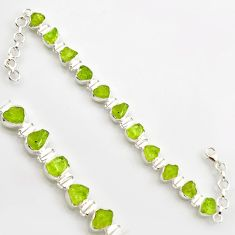35.24cts natural green peridot rough 925 sterling silver tennis bracelet r17005