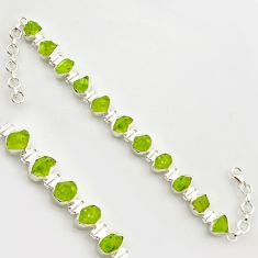 37.44cts natural green peridot rough 925 sterling silver tennis bracelet r17006