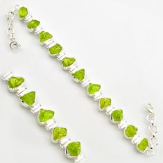 925 sterling silver 38.92cts natural green peridot rough tennis bracelet r17008