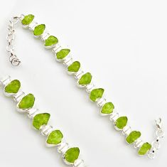 41.12cts natural green peridot rough 925 sterling silver tennis bracelet r17009