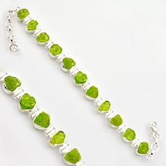 42.37cts natural green peridot rough 925 sterling silver tennis bracelet r17010