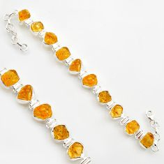 925 sterling silver 43.32cts yellow citrine rough fancy tennis bracelet r17011