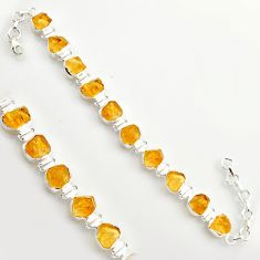 40.17cts yellow citrine rough 925 sterling silver tennis bracelet jewelry r17012