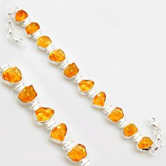 50.14cts yellow citrine rough 925 sterling silver tennis bracelet jewelry r17013