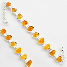 44.30cts yellow citrine rough 925 sterling silver tennis bracelet jewelry r17014