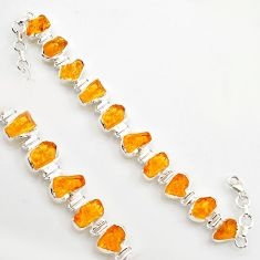 925 sterling silver 43.77cts yellow citrine rough tennis bracelet jewelry r17015