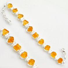 40.17cts yellow citrine rough 925 sterling silver tennis bracelet jewelry r17016
