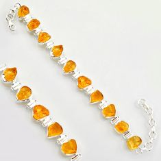 40.66cts yellow citrine rough 925 sterling silver tennis bracelet jewelry r17017